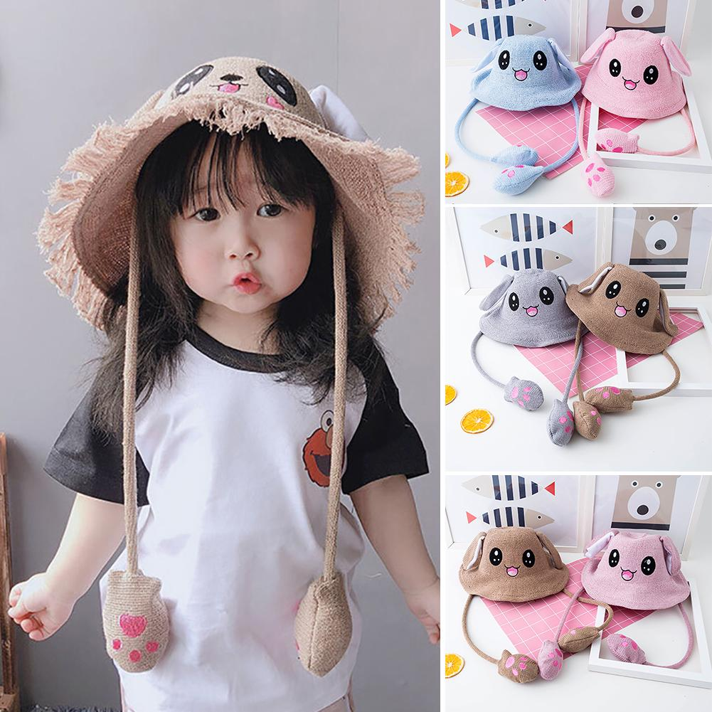 Cute Unisex Rabbit Ear Plush Knitted AirbagS Pop-up Summer Beanie Bucket Hat Plush Toy Birthday Gift Fur Hats For Women