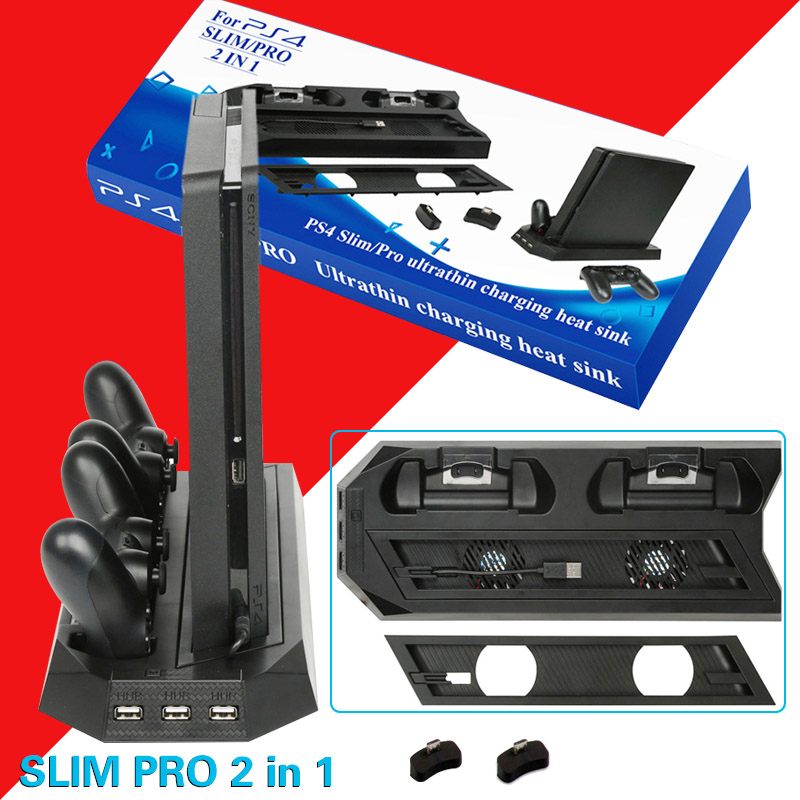 PS4 2 In 1 Vertical Stand with Dual Controller Charging Station Dock 3 HUB Port Cooling fan for Sony PlayStation 4 PS4 Slim Pro