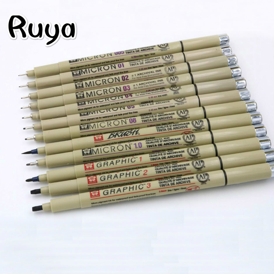 12pc pigment Micron Sakura Neelde Soft Brush Drawing Pen 005 01 02 03 04 05 08 fine point copic Markers highlighters stabilo