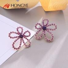 Hongye Роскошные фиолетовые хрустальные серьги гвоздики с большим