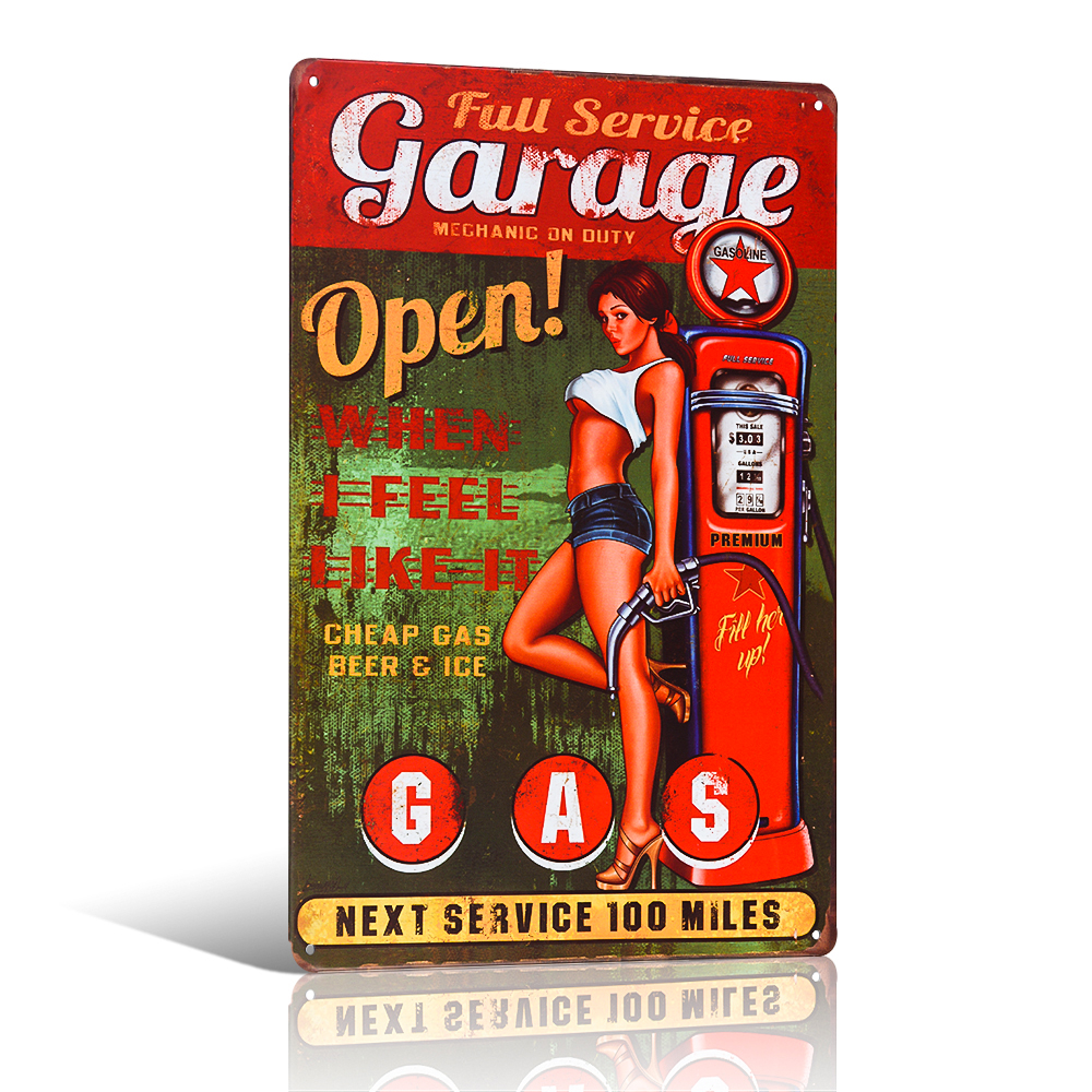 Vintage Full-Service Pin up Mädchen Garage Wanddekor Zinn Zeichen Gas Garage Hot Rod Wandplakat Craft Wandmalerei