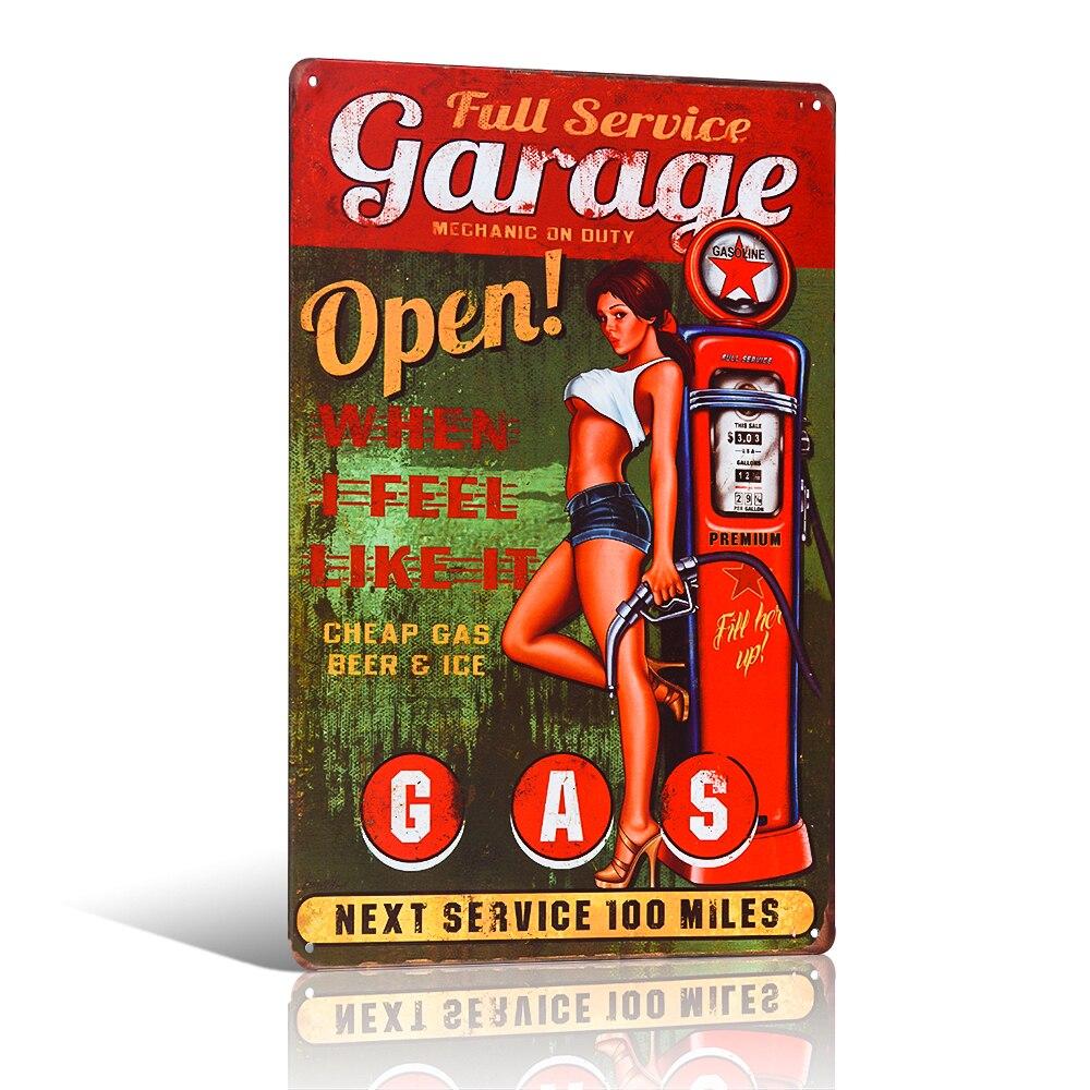 4 34 5 De Réduction Vintage Service Complet épingle Up Fille Garage Mur Décor étain Signe Gaz Garage Tige Chaude Affiche Murale Artisanat Peinture