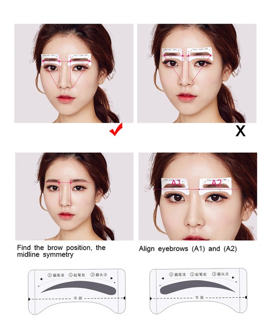 4pcs Eyebrow Stencils Grooming Shaper Tattoo Stencil Models Template Shaping Tools Eyebrows Template Card Eye Shadow Makeup Tool 4