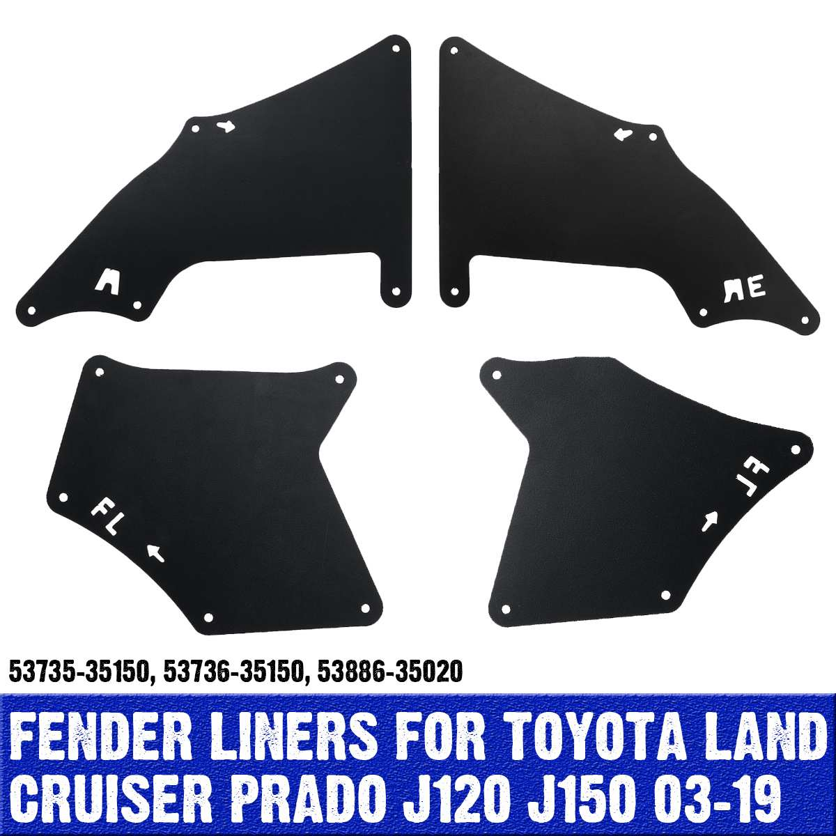 4pcs Mud Flaps สำหรับ Toyota Land Cruiser Prado 2003-09 Splash Guards Mud FLAP Mudguards fender