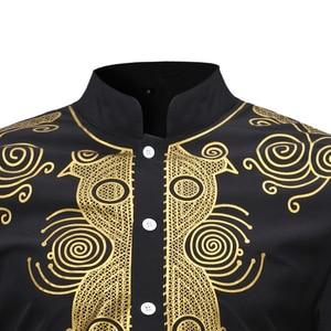 Image 3 - MD الأفريقية الرجال dashiki قميص ملابس رجالية بكم طويل القمصان التقليدية بازين تي شيرت جنوب أفريقيا المطرزة الملابس التقليدية ارتداء