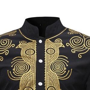 Image 3 - MD hommes africains dashiki chemise à manches longues hommes chemises traditionnel bazin t shirt afrique du sud brodé vêtements vêtements traditionnels