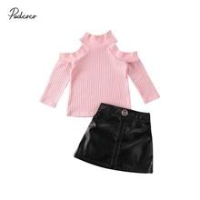 Детская одежда; сезон весна-осень комплект из 2 предметов для маленьких девочек; водолазка с длинными рукавами и вырезом; топ из искусственной кожи; мини-юбка; одежда