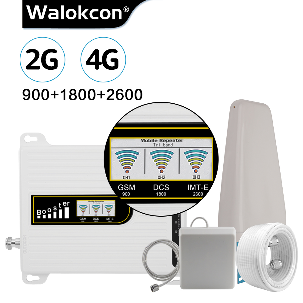 Walokcon 2019 NEW Version GSM Repeater 2g 4g 900/1800/2600 MHz Cellular Booster GSM DCS LTE 4G Amplifier 70dB Gain Antenna Set