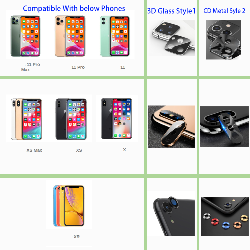 3D Full Back Camera Lens Screen Protector for iPhone 11 Pro Max X R XS Tempered Glass 1