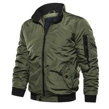 Autumn Men's Military Bomber Jackets Casual Solid Zipper Pilot Jacket Coats Slim Fit Young Men Jacket Plus Size 5XL Mens Jacket zipper quilted pilot jacket