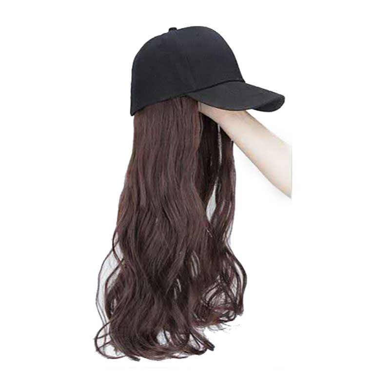 2020 Nieuwe Pruik Cap Baseball Cap Vrouwen Lang Haar Krullend Zwart Hoed Bruin Haar Pruik Hoed Hot Fashion Natuurlijke Meisje mooie Mooie