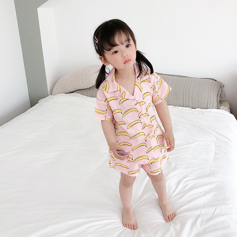 Small CHILDREN'S Horse Childrenswear 2019 Summer Children Pajamas Girls Banana Pajamas Suit 1274