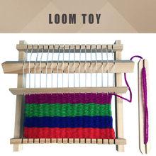 Drewniane tradycyjne tkactwo krosna zabawka dla dzieci Craft prezent edukacyjny drewniane tkactwo rama DIY urządzenie do tkania dzieci zabawki