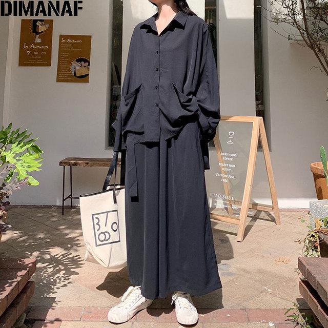 Women 2 Piece Set Long Sleeve Casual  Pockets Loose Large Pants Suit Solid Black 1