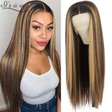 I's a-peluca larga y recta para mujer, peluca con malla frontal, marrón, Rubio mezclado, sintética, aspecto Natural, sin pegamento