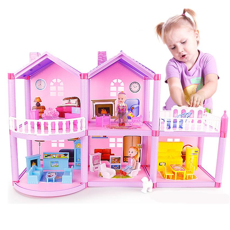 New DIY Family Doll House Accessories Toy With Miniature Furniture Garage Assemble Villa Doll House Toys For Girls Birthday Gift image