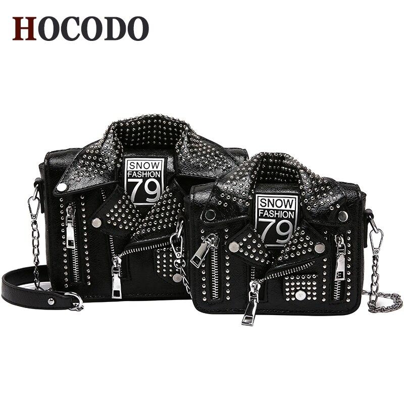 HOCODO Hot European Brand Designer Women Clothing Shoulder Messenger Rivet Jacket Bags Personalized Chain Motorcycle Bags Bolsas