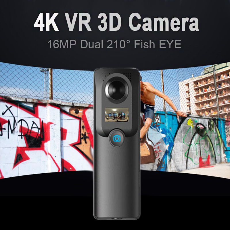 3D 180/360 Full HD <font><b>4K</b></font> VR 13MP <font><b>Camera</b></font> Dual 210 Wide Angle Fish Eye WIFI FPV Panoramic Cam Camcorder Recorder With Display Screen image