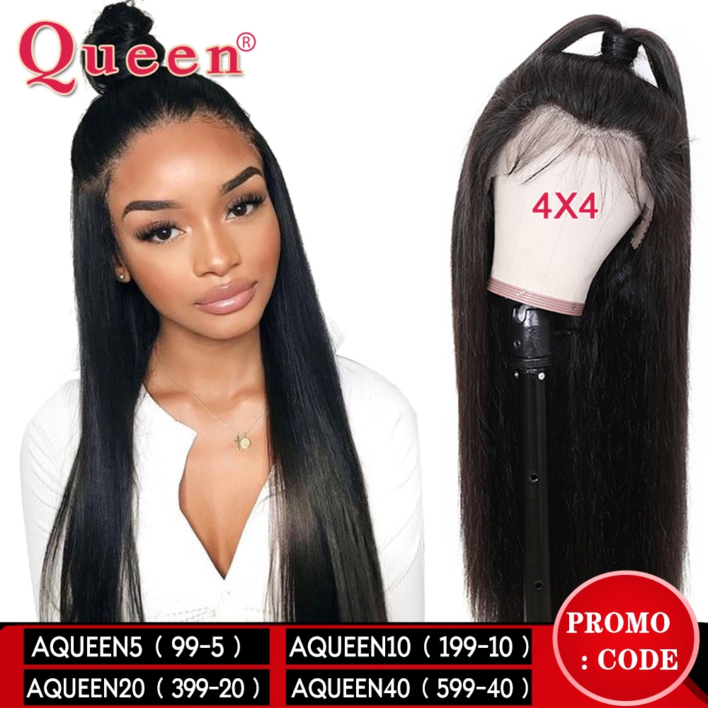 4*4 Lace Closure Human Hair Wigs For Women Natural Color Brazilian Straight Remy Hair Human Hair Wigs Queen Hair Products