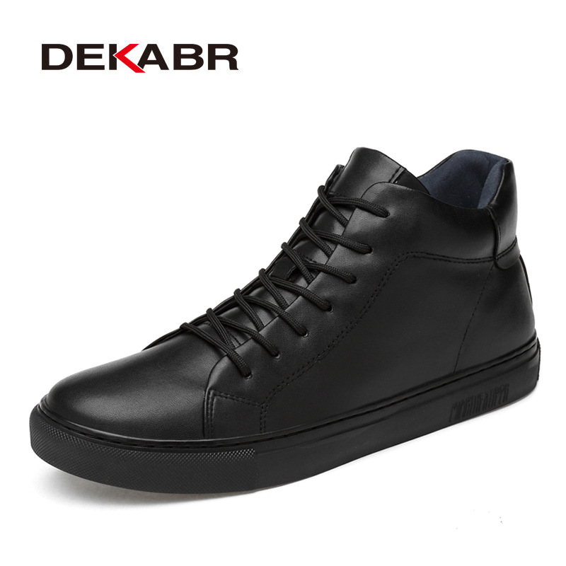 DEKABR 2020 Hot Sale New Arrival Handmade Fashion Men Boots Classic Black Winter Autumn Boots Genuine Leather Warm Ankle Boots
