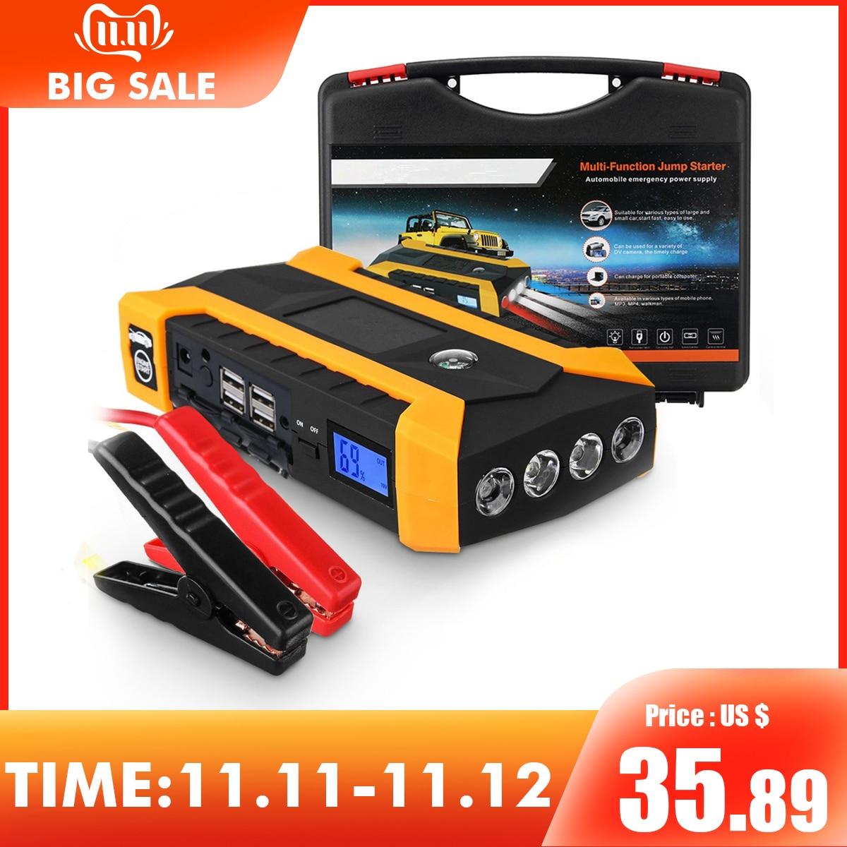 Démarreur de saut multifonction 89800 mAh 12 V 4USB 600A chargeur de batterie de voiture Portable Booster batterie externe dispositif de démarrage