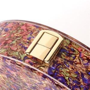 Image 2 - جديد نصف دائرة المرأة حقيبة الاكريليك الترتر ليلة عشاء محفظة حقائب امرأة الزفاف مساء حقائب العصرية الملونة صندوق حفلات مخلب