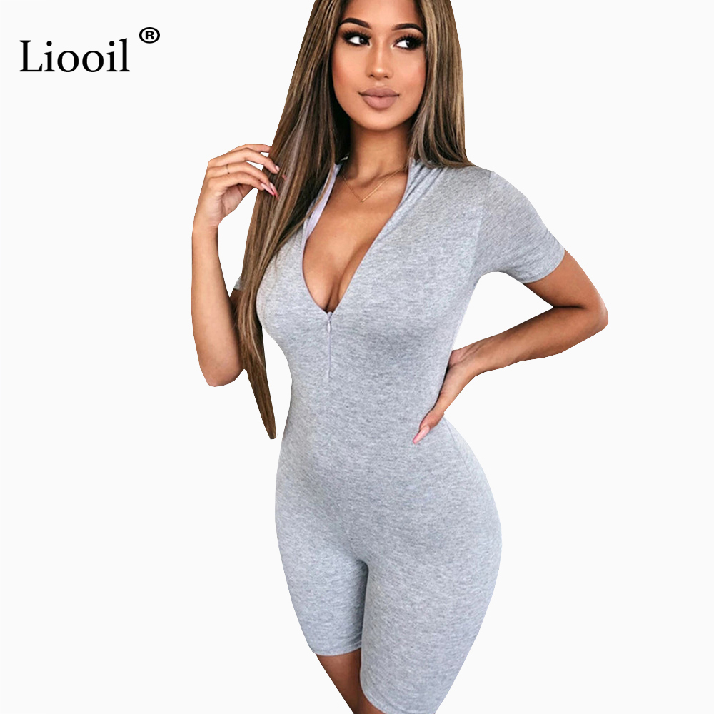 Liooil Black Gray Bodycon Playsuit Women Wear On Both Sides Sexy Jumpsuit Autumn 2020 Zip Up Party Club Romper Jumpsuits Shorts