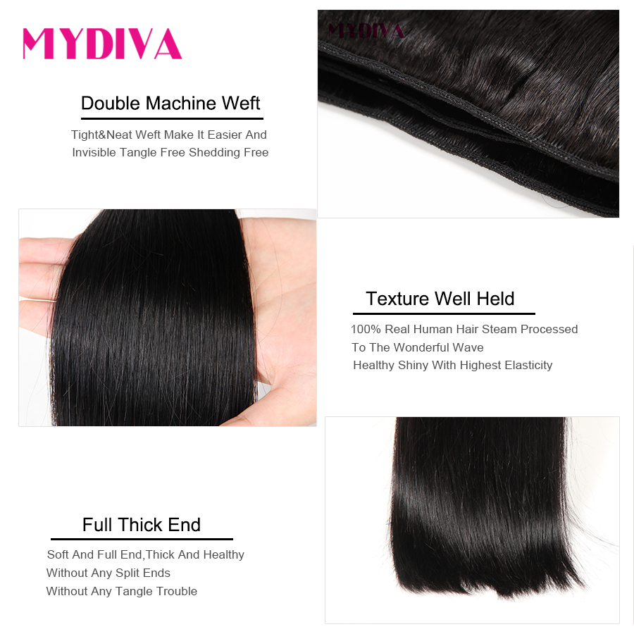 Mydiva 8-34 36 38 40 Inch   Bundles Straight 100%  3/4 Bundles Natural Color  Hair s 5