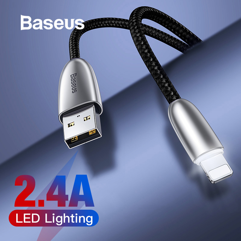 Baseus 2.4A USB Cable for iPhone 11 Pro Max XR Fast Charging Cable LED Light USB Charger Cable for iPhone 8 7Plus Data Sync Wire-in Mobile Phone Cables from Cellphones & Telecommunications on AliExpress