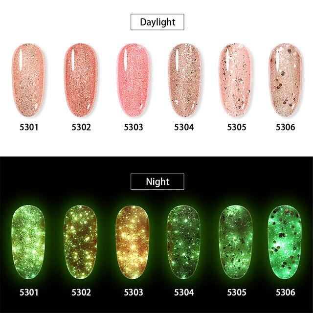 Elite99 Luminous Rose Gold Gel Polnischen Schimmer Glitter Glow In The Dark Nail art Gel Lack Emaille Semi Permanent UV nagellack