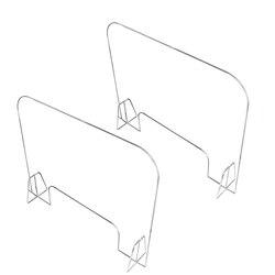 2 uds. De plexiglás de escritorio Sneeze Guard acrílico claro barrera divisor plexiglás escudo