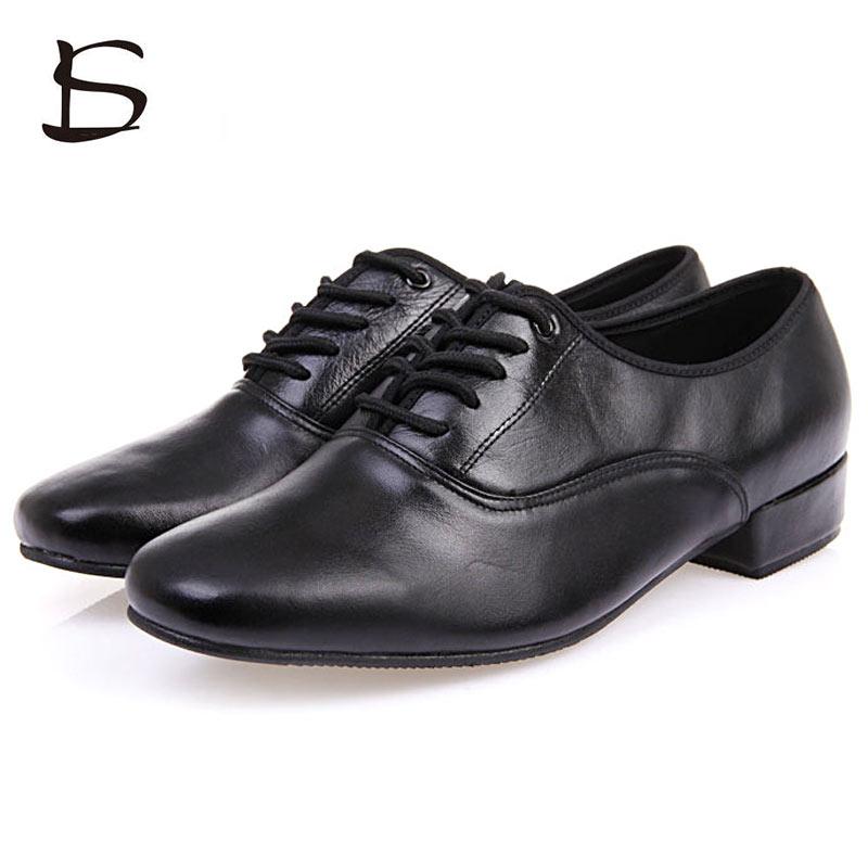 Men's Dance Shoes Genuine Leather Latin Ballroom Shoes For Dancing Black Men Professional Dance Shoes Soft Sole Plus Size 39-46