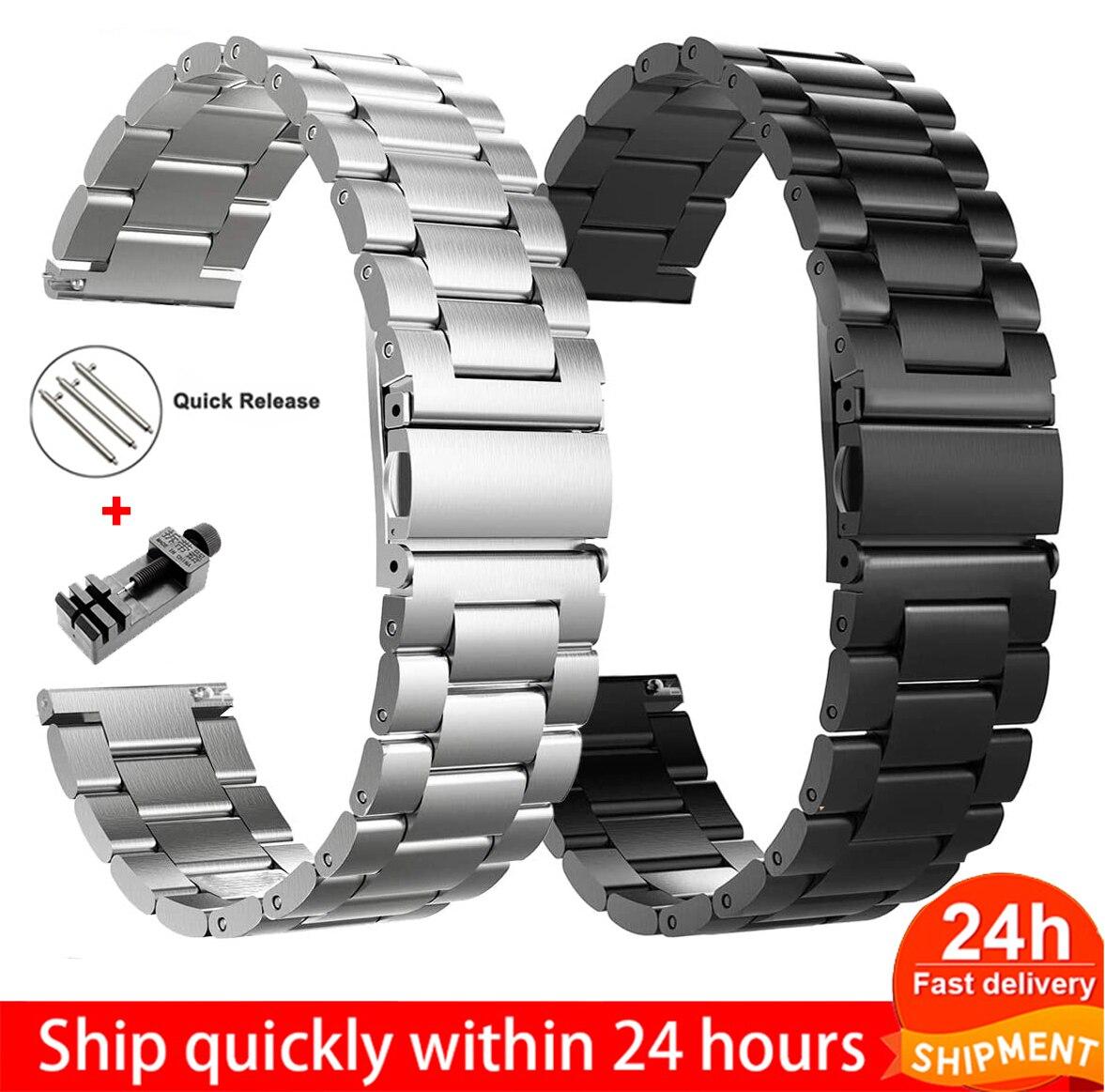 18mm 22mm 20mm 24mm pulseira de relógio para samsung galaxy assista 42 46mm engrenagem s3 active2 clássico liberação rápida aço inoxidável
