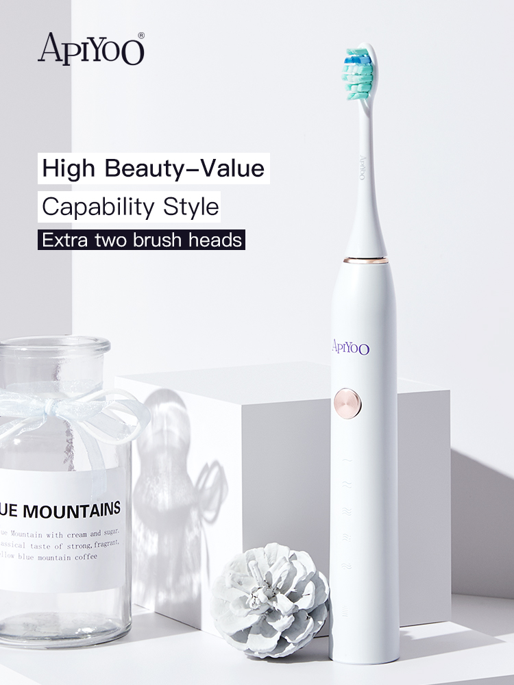 Apiyoo P7 Sonic Toothbrush Electric Tooth Brush For APIYOO Ultrasonic Automatic Upgraded Qi Chargeable Adult Waterproof-White