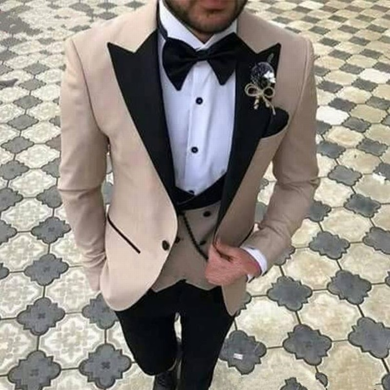 s46 Champagne With Black Lapel Suits for Men Tuxedo Groom Suit For Men Wedding Terno Slim Groom Tailor-made Mens Suit Masculino 3PCS