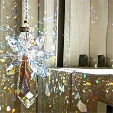 Nowy anioł żyrandol wiatr kuranty powłoki kryształowe pryzmaty wiszące Suncatcher Rainbow Chaser zasłony okna wisiorek Home Decor tanie tanio ISHOWTIENDA CN (pochodzenie) Miłość Nowoczesne