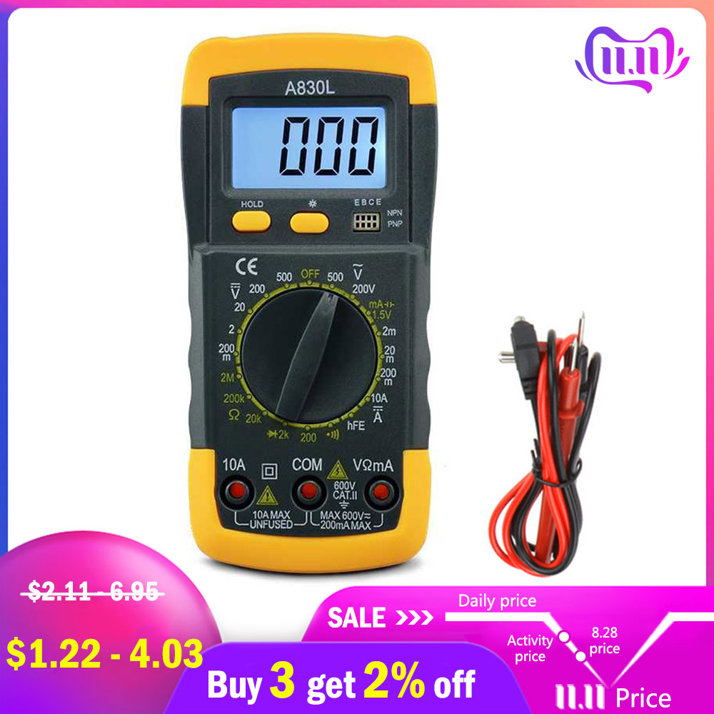 A830L Mini Multimeter LCD Digital Multimetro Volt Amp Ohm Tester Meter Voltmeter Ammeter Backlight Overload Protect With Probe-in Multimeters from Tools