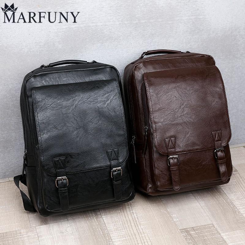 New Brand Design Backpacks For Men Vintage PU Leather Black Laptop School Bags Teenagers Black Business Backpack Male