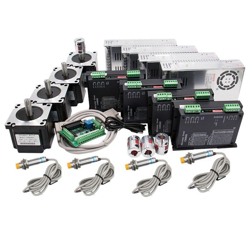 4 assi CNC kit Nema 34 1230Oz-in/5.6A 8.5N Motore Passo-passo e 80VDC 256 Microstep driver del motore CW8060 SP per CNC di Fresatura Macchina