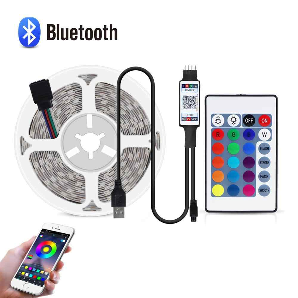 DC 5V USB 2835 RGB LED Strip Lampu Bluetooth Kontrol Musik Pesan Light Bulb Home TV Dekorasi Pencahayaan Pita dekorasi Meja Tape String