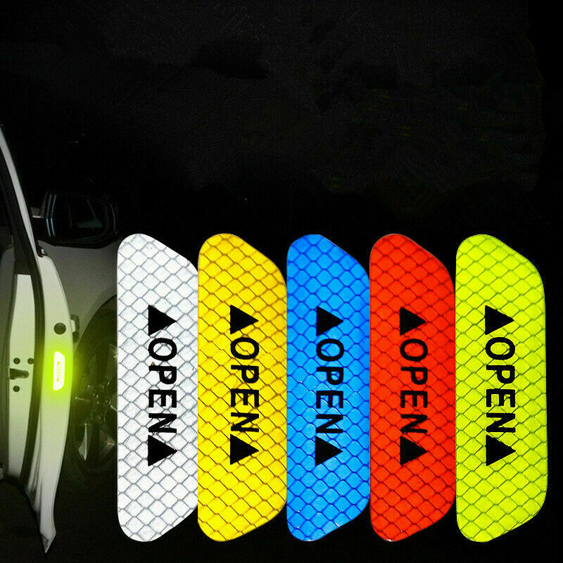 4 Universal Auto Car Door Open Sticker Reflective Tape Safety Warning Decal 1