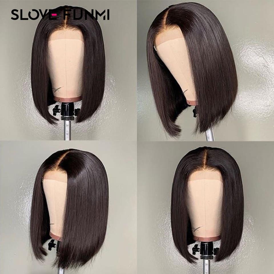13 4 Short Bob Brazilian Lace Front Human Hair Wigs For Black Women Remy Baby Hair
