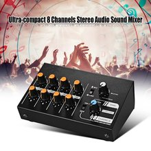LEORY EU/US KTV Karaoke Power Mixer 8 Channels Stereo Audio Sound Mixing Console effect Professional Mixer DC 12V Power Sdapter(China)