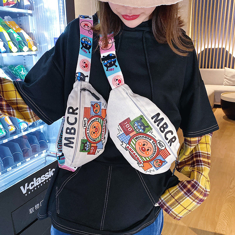 NiceMix Streetwear Cartoon Women Waist Bag Fashion Tide Ins Style Student Cute Canvas Bag Girl Hip Hop New Diagonal Chest Bag