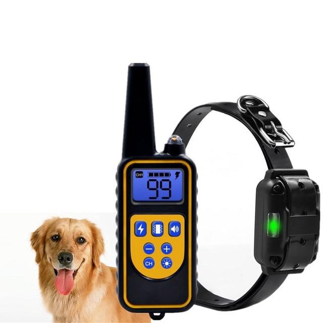 800yd Elektrische fernbedienung Hund Ausbildung Kragen Wasserdichte Wiederaufladbare mit LCD Display für Alle Größe beep Schock Vibration modus 40% off