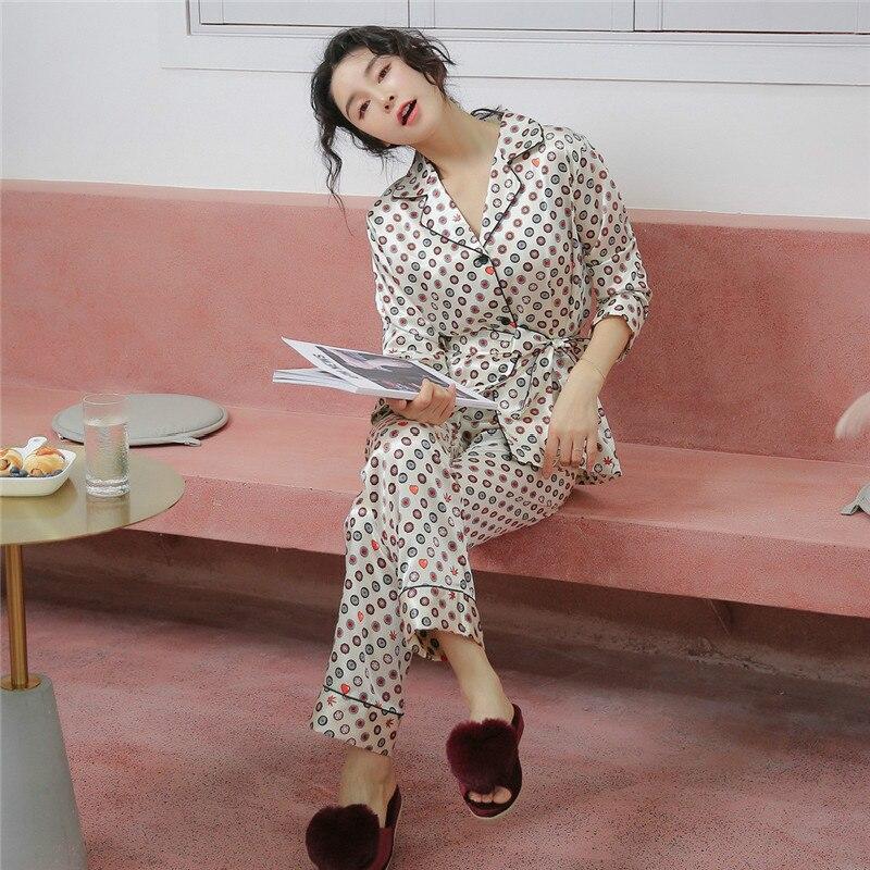 Image 4 - 2019 летние женские пижамные комплекты с цветочным принтом, атласные шелковые пижамы в горошек, пижамы с длинным рукавом, домашняя одежда-in Комплекты пижам from Нижнее белье и пижамы on AliExpress - 11.11_Double 11_Singles' Day