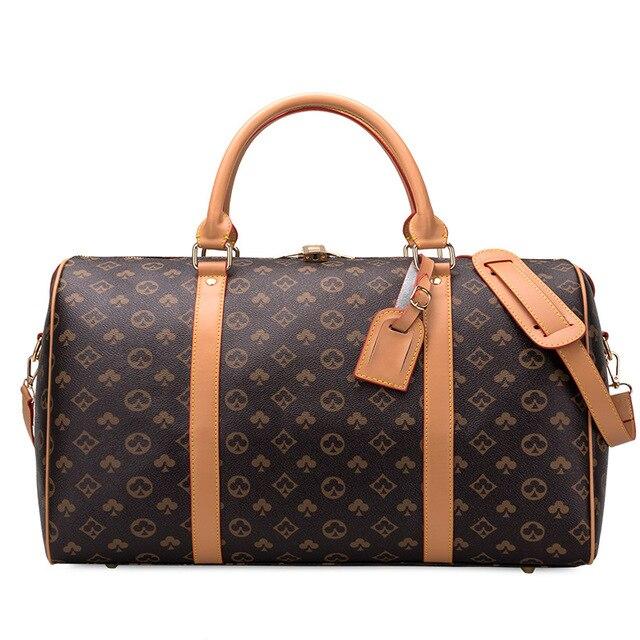 Classic Flower Design Mens Leather Travel Bag,Portable Large Capacity Fitness Bag,Hot Sale Travel Shoulder Bag,Luggage Bag