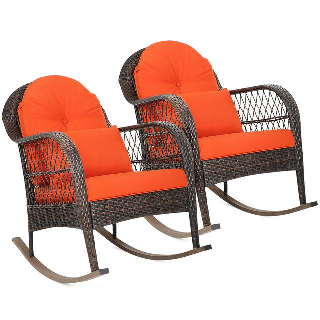 2PCS Outdoor  Wicker Rocking Chair 1