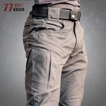 Spodnie taktyczne męskie Outdoor wodoodporne wojskowe spodnie wojskowe odzież męska odporne na wiele kieszeni biegaczy męskie spodnie Cargo tanie i dobre opinie 77city killer Cargo pants CN (pochodzenie) Mieszkanie NYLON COTTON Stretch Spandex Kieszenie REGULAR Tactical Pants Men
