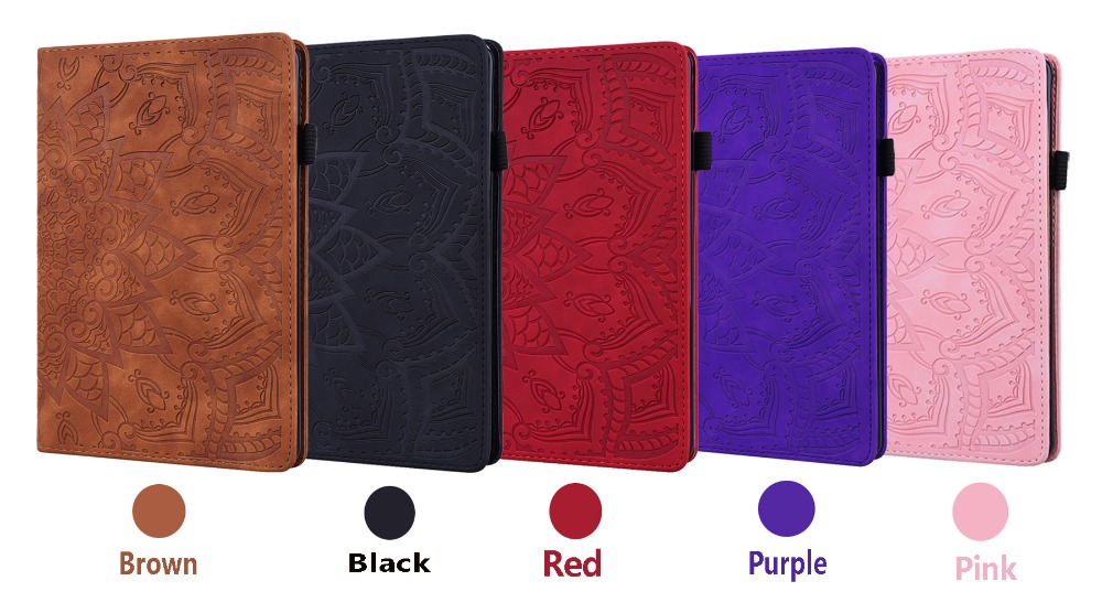 Generation Embossed Folding iPad 12.9 Case Cover For 3D 2020 Leather Flower Pro 4th